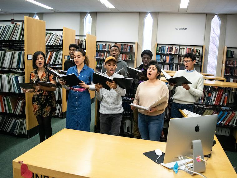 The Black Musicians Guild performs in the Conservatory library.