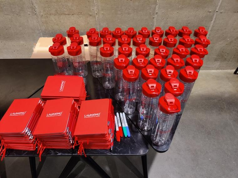 water bottles and markers for bootcamp members