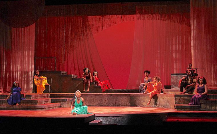 Production photo of for colored girls who have considered suicide / when the rainbow is enuf, written by Ntozake Shange, Directed by Caroline Jackson Smith, Hall Auditorium, Apr 13-16, 2017