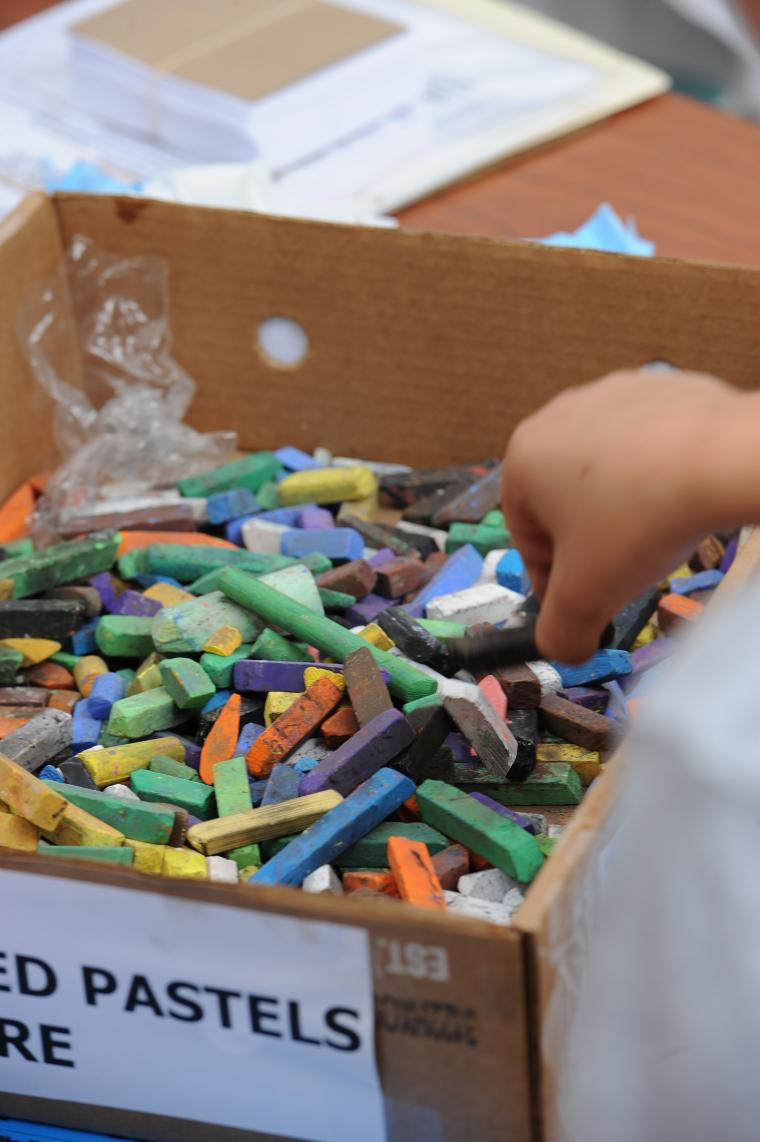 A box filled with colorful chalk