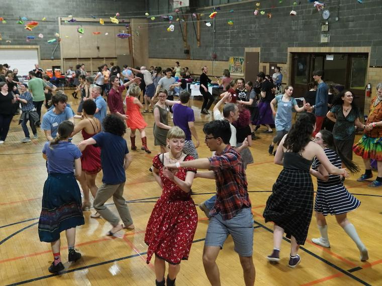 The Contra Club dancing in Wilder Hall.