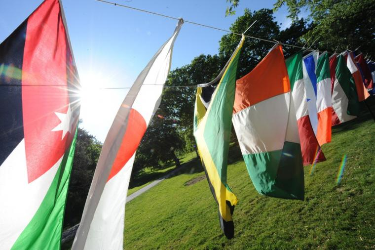 Flags from various countries hang in the sunlight