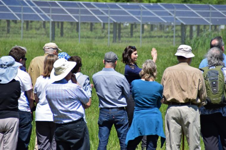 A group of people admire a solar panel array