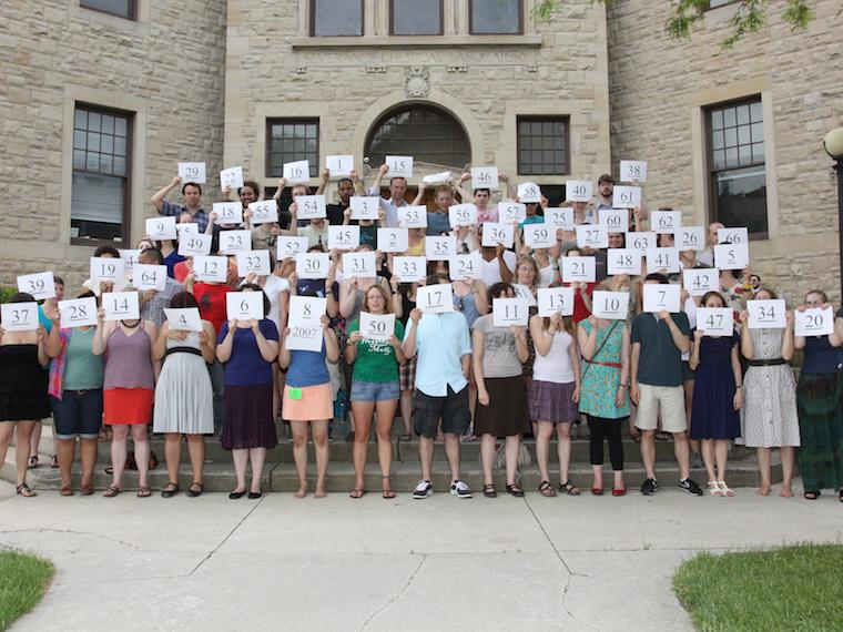 Photo of Class of 2007 with cards at CRW 2011