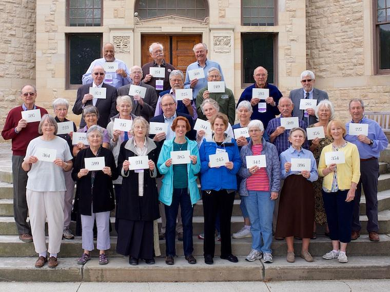 Photo of Class of 1963 with cards at CRW 2017
