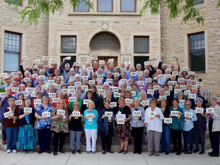 Photo of Class of 1967 with cards at CRW 2017