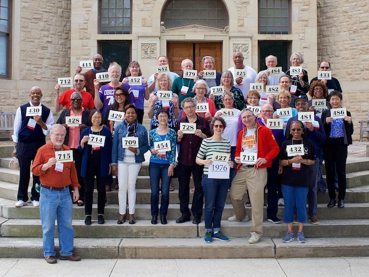 Photo of Class of 1976 with cards at CRW 2017