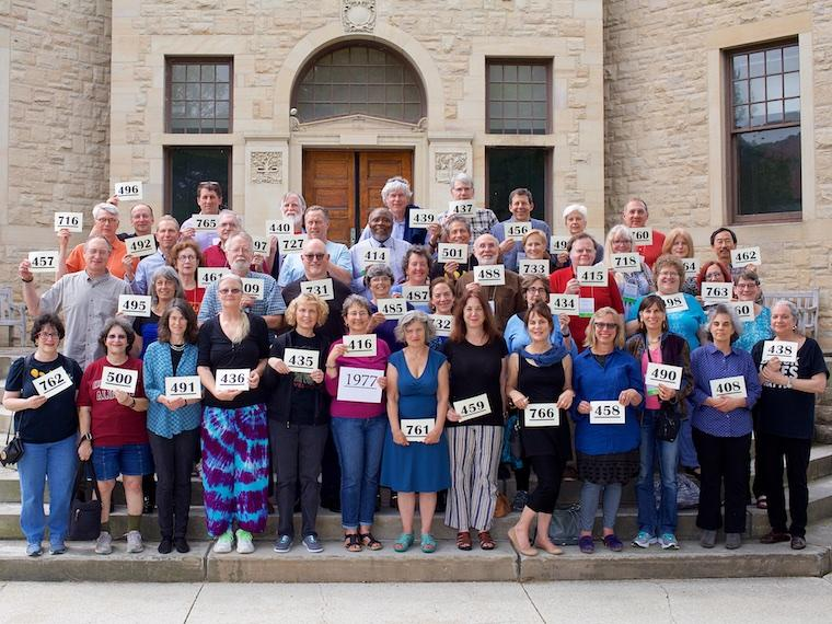 Photo of Class of 1977 with cards at CRW 2017