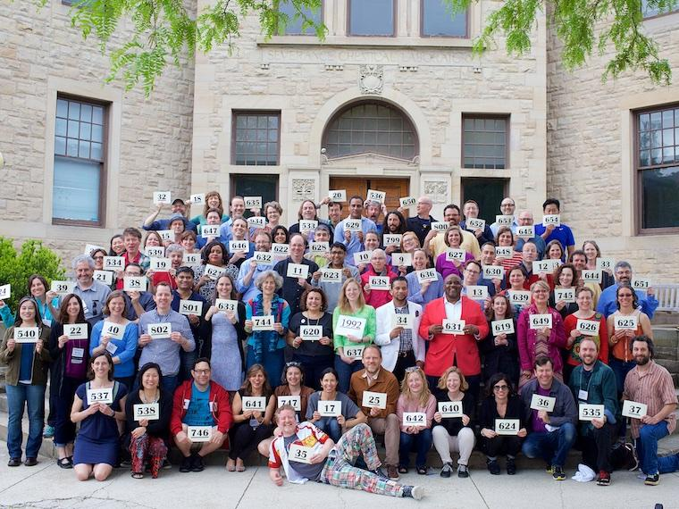 Photo of Class of 1992 at CRW 2017 with cards