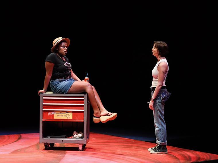 Diwe Augustin-Glave as Betty 3, Anna Aubry as Betty 4 in Collective Rage: A Play in Five Betties, written by Jen Silverman, Directed by Tlaloc Rivas, Irene & Alan Wurtzel, Feb 6-9, 2020