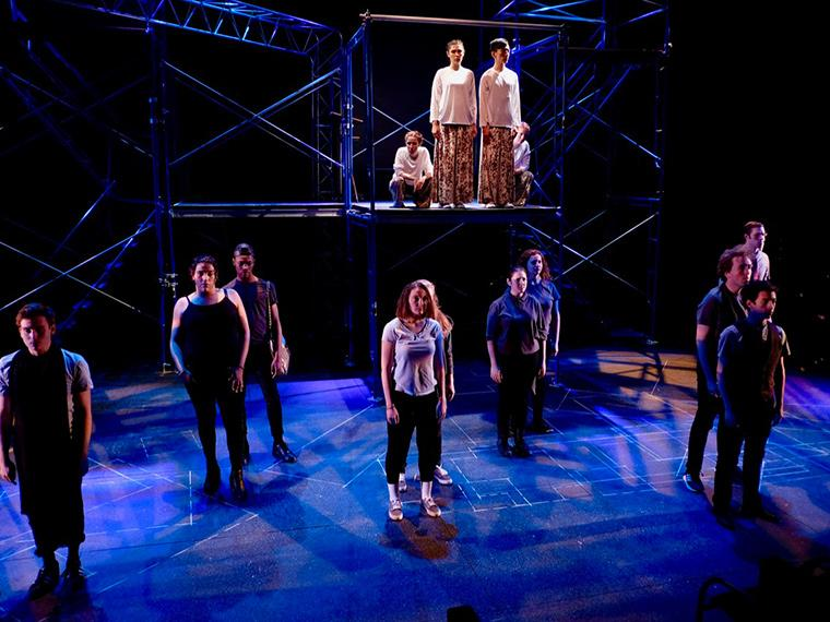 The company of Angels in America Part Two: Perestroika, by Tony Kushner, Directed by Matthew Wright, Hall Auditorium, Apr 12-21, 2018