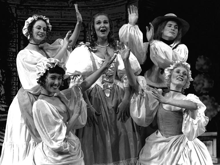 Ana Sferruzza as Marotte, Mary McGuinness as Georgette, Kas Smith as Lucinde, Christopher Weaver as Stable Boy, Tuija E. Janhonen as Agnes in Elixir of Arelle, Directed by Jane S. Armitage, Feb 6-9, 1992