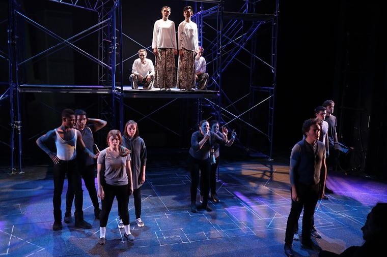 The company of Angels in America Part One: Millennium Approaches, by Tony Kushner, Directed by Matthew Wright, Hall Auditorium, Apr 2018