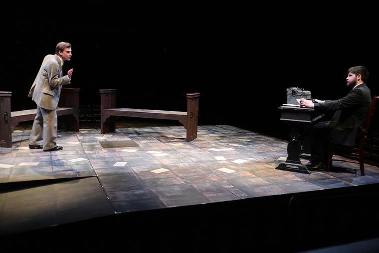 Evan Board as Randolph Bourne, James Dryden as Uncle Halsey/Prof. Erskine/Albert/Ellery in Body of Bourne, written by John Belluso, Directed by Jason Dorwart, Irene & Alan Wurtzel Theater, April 11-14, 2019