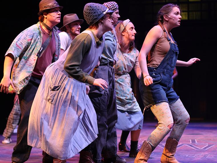 The company of Urinetown: The Musical, by Greg Kotis, Music by Mark Hollmann, Lyrics by Mark Hollmann and Greg Kotis, Directed by Matt Wright, Dec 5-8, 2019