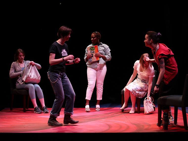The company of Collective Rage: A Play in Five Betties, written by Jen Silverman, Directed by Tlaloc Rivas, Irene & Alan Wurtzel, Feb 6-9, 2020
