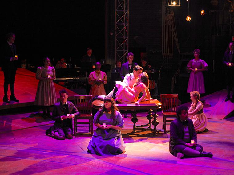 Production photo of Spring Awakening, Book and Lyrics by Steven Sater, Music by Duncan Sheik, Directed by Chris Flaharty, Hall Auditorium, Dec 1-4, 2016
