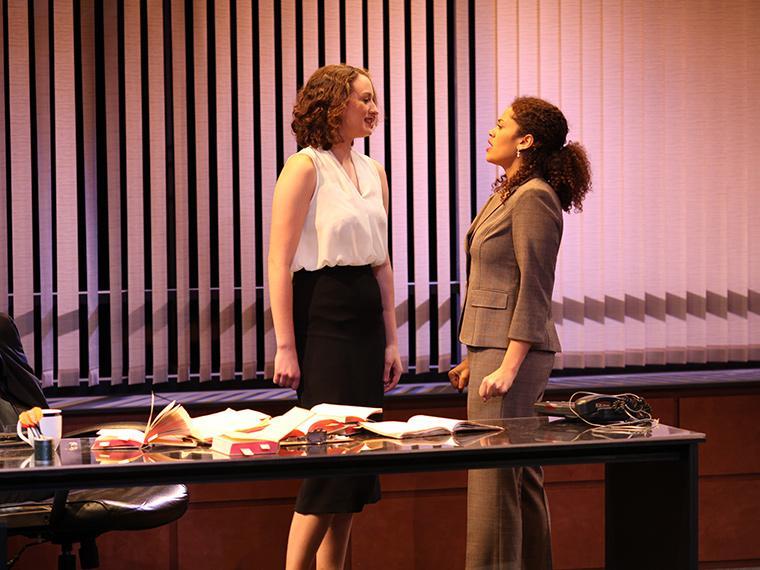 Marina Schwadron as Abigail Gersten, Imke Heart as Stefanie in Denial, by Peter Segal, Directed by Paul Moser, Hall Auditorium, Feb 2-5, 2017