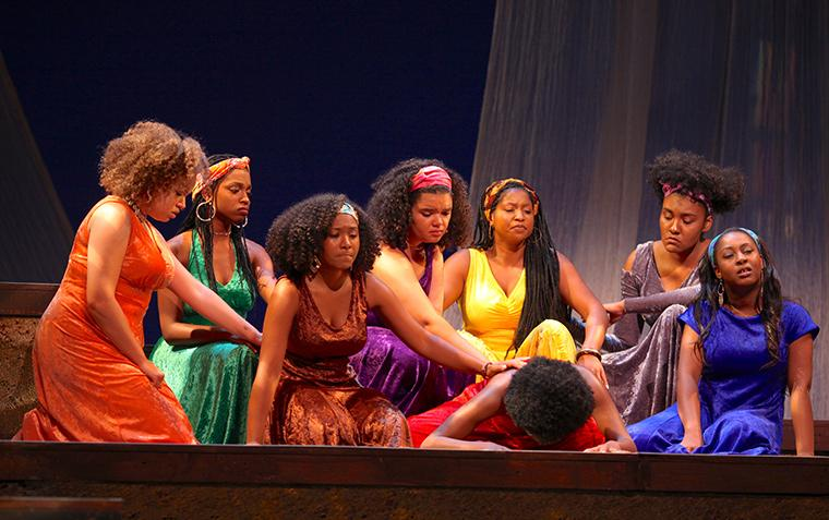 Kiela Nelson as Lady in Orange, Calypso Simone as Lady in Green, Kiela Nelson as Lady in Orange, Chandler Browne as Lady in Purple, Deja Alexander as Lady in Yellow, Amara Granderson as Lady in Red, Daniella Pruitt as Lady in Grey, Victoria Ellington as Lady in Blue in for colored girls who have considered suicide / when the rainbow is enuf, written by Ntozake Shange, Directed by Caroline Jackson Smith, Hall Auditorium, Apr 13-16, 2017