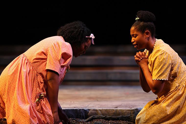 Yemko Pryor as Frieda, Deja Alexander as Claudia in The Bluest Eye, adaptation by Lydia Diamond, based on the book by Toni Morrison, Directed by Justin Emeka, Nov 30-Dec 3, 2017