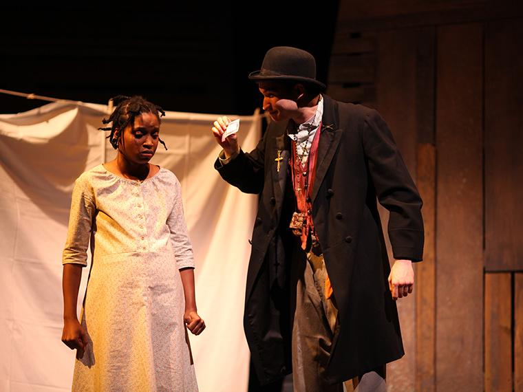 Calypso Simone as Pecola Breedlove, William Osborn as Soaphead Church in The Bluest Eye, adaptation by Lydia Diamond, based on the book by Toni Morrison, Directed by Justin Emeka, Nov 30-Dec 3, 2017