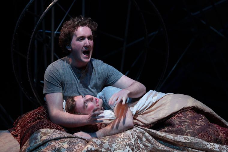 Kieran Minor as Louis Ironson, Evan Board as Prior Walter in Angels in America Part One: Millennium Approaches, by Tony Kushner, Directed by Matthew Wright, Hall Auditorium, Apr 12-21, 2018