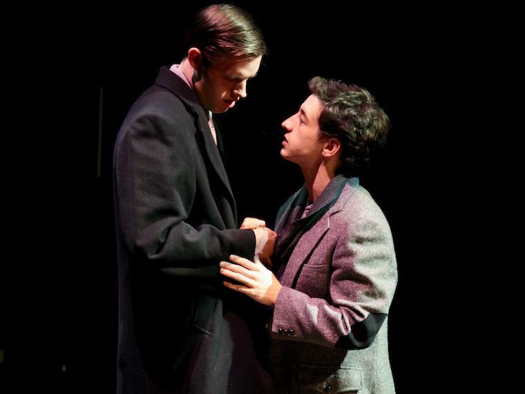 Julian Guerrieri as Joe Pitt, Daniel Fleischer as Louis Ironson in Angels in America Part Two: Perestroika, by Tony Kushner, Directed by Matthew Wright, Hall Auditorium, Apr 12-21, 2018
