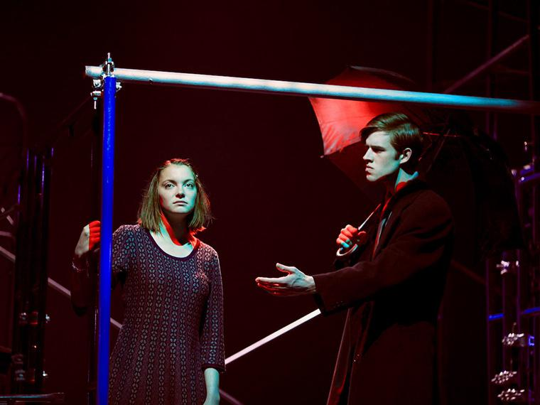 Christine Impara as Harper Pitt, Julian Guerrieri as Joe Pitt in Angels in America Part Two: Perestroika, by Tony Kushner, Directed by Matthew Wright, Hall Auditorium, Apr 12-21, 2018