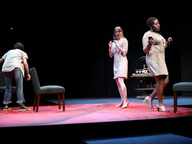 Anna Aubry as Betty 4, Lauren Elwood as Betty 2, Diwe Augustin-Glave as Betty 3 in Collective Rage: A Play in Five Betties, written by Jen Silverman, Directed by Tlaloc Rivas, Irene & Alan Wurtzel, Feb 6-9, 2020