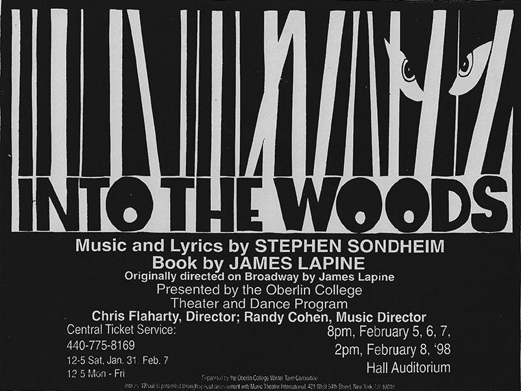 A flyer for Into The Woods, music and lyrics by Stephen Sondheim, Directed by Chris Flaharty, Feb 5-8, 1998