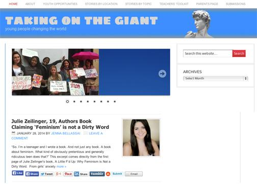 "Screenshot of a website titled ""Taking on the Giant"""