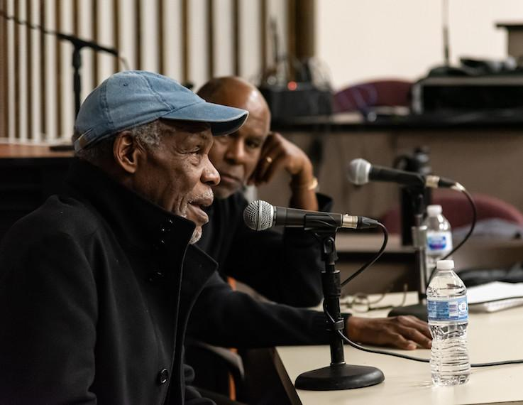Actor Danny Glover talks to an audience.