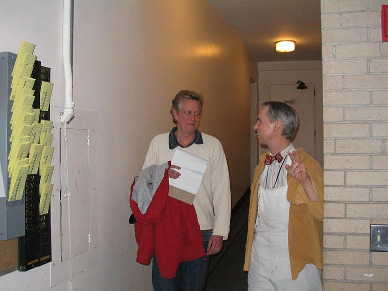 Photo of Matthew Wright and Chris Flaharty backstage at Hall Auditorium for Dancing at Lughnasa, by Brian Friel, Directed by Matthew Wright, Feb 11-13, 2005