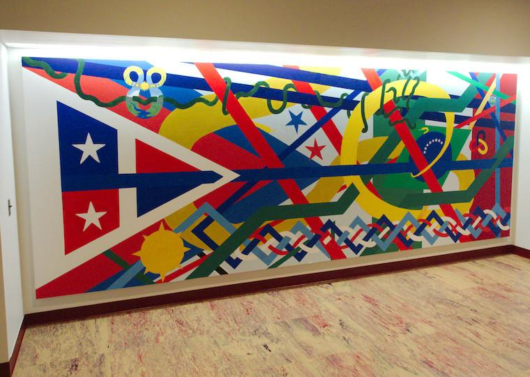 A mural with varying shapes and sizes