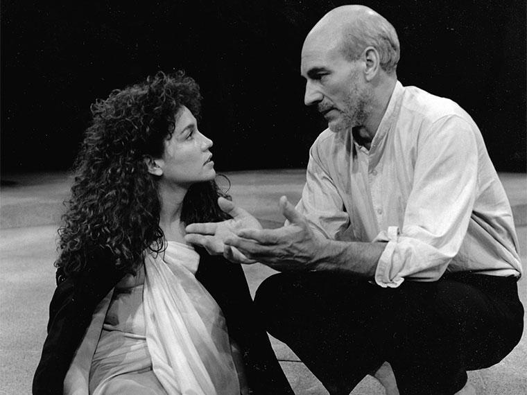 Julie DePaul (left) and Patrick Stewart (right) in Shakespeare's The Tempest (1986)
