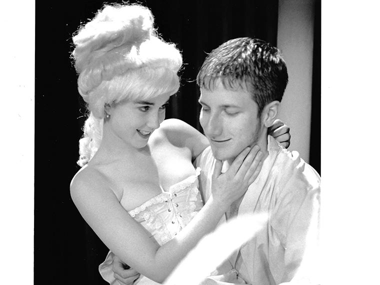 Blythe Phillips '00 as Madame Royer-Collard, Jim Williams '02 as Monsieur Prouix in Quills - a grotesque study of the Marquis de Sade, written by Doug Wright, Directed by Christopher Niebling, Feb 17-20, 2000