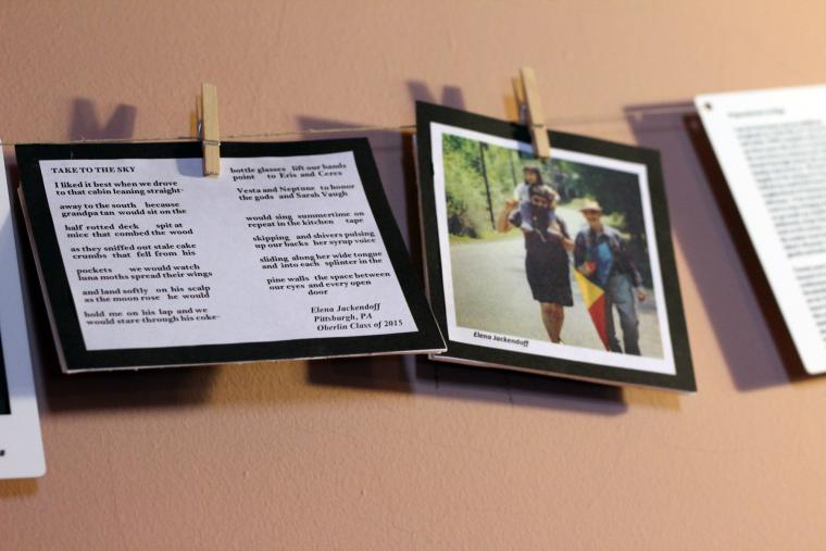 Close-up photograph of the pictures and text that are signs that are hanging.