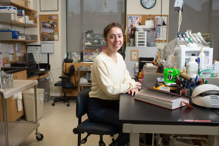 Photo of a person seated at a desk in a laboratory