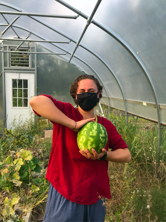 my housemate Piper, masked, holding a watermelon on a greenhouse