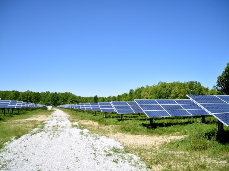 image of solar panels along a roadway