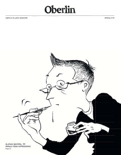 A magazine cover with a drawing of a woman on it.
