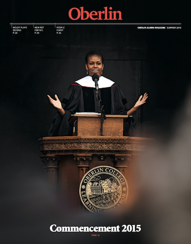 A magazine with Michelle Obama on the cover giving a graduation speech.