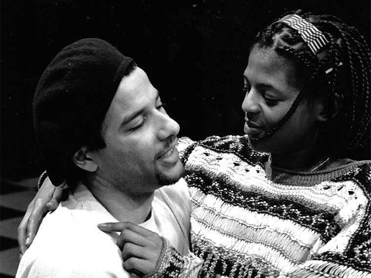 Justin Emeka '95 as Axis, Sibi Lawson as Jet in The Tapestry, Apr 28-30, 1995