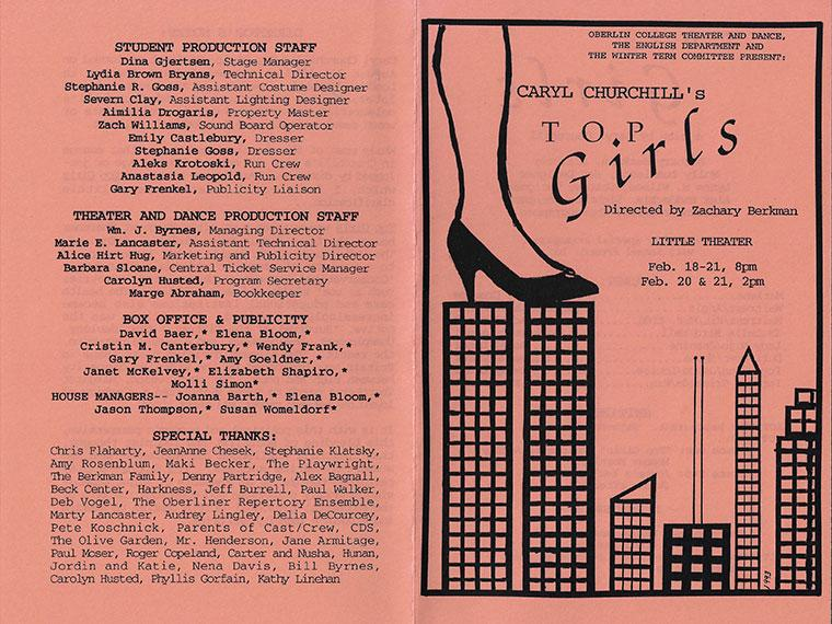 Front and back covers of the program for Top Girls, written by Caryl Churchill, Directed by Zachary Berkman, Little Theater, Feb 18-21, 1993