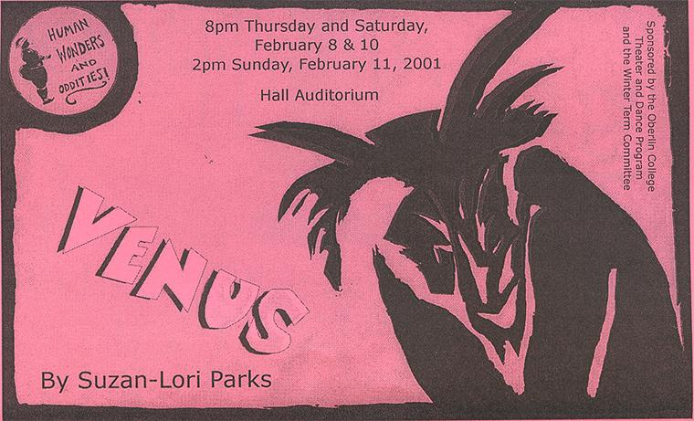 Cover of the program for Venus, by Suzan-Lori Parks, Directed by Shannon Forney, Feb 8-11, 2001