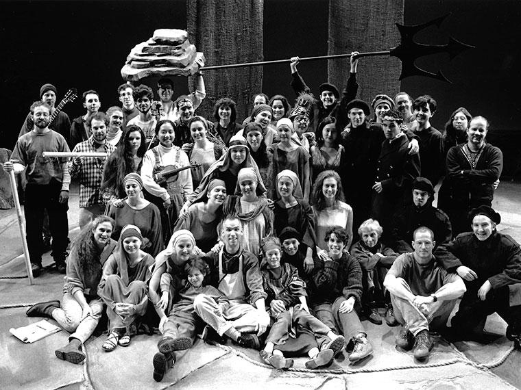 Photo of the cast and crew of Women of Troy, co-directed by Associate Professor of Dance Ann Cooper Albright and Associate Professor of Theater Jane S. Armitage,